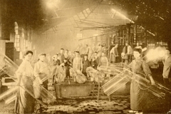 Postcard showing women and children in a cylinder glass factory, Verreries du Centre de Jumet (Belgium, ca. 1910) Rakow Library Chambon Collection.