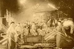 Postcard showing women and children in a cylinder glass factory, Verreries du Centre de Jumet (Belgium, ca. 1910) Rakow Library Chambon Collection.