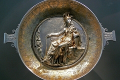 Ancient Roman silver tableware found outside imperial frontiers - Silver bowl with Athena (Minerva), from the Hildesheim treasure , 1st century BC. Antikensammlung, Berlin