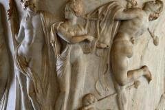 Borghese vase.[detail].Dionysus, Ariadne and dancing satyr,[-100].Louvre, Paris