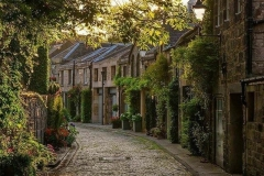 Cobblestone streets and village. Edinburgh, Scotland.