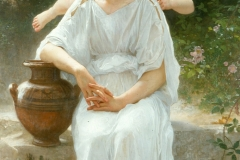 Première rêverie, also known in English as Whisperings of Love, is a painting by nineteenth-century French artist William-Adolphe Bouguereau. The work was completed in 1889