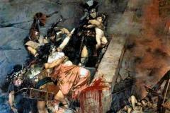 Andromaque de Georges-Antoine Rochegrosse, 1883 (croix gammée inscrite dans le sang sur ce tableau représentant les massacres des troyens)