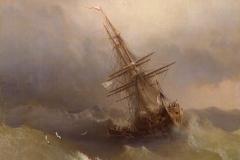 Ship in the Stormy Sea #russianart #ivanaivazovsky