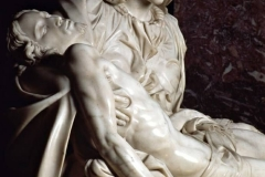 The Pieta by Michelangelo, located in St. Peter's Basilica in Rome.
