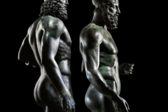 The Riace Warriors, two full-size Greek bronzes of naked bearded warriors, cast about 460–450 BC and found in the sea off Calabria.