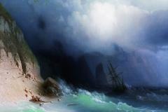 The Shipwreck near rocks 1870 … #ivanaivazovsky